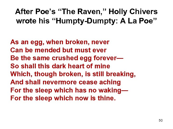 """After Poe's """"The Raven, """" Holly Chivers wrote his """"Humpty-Dumpty: A La Poe"""" As"""
