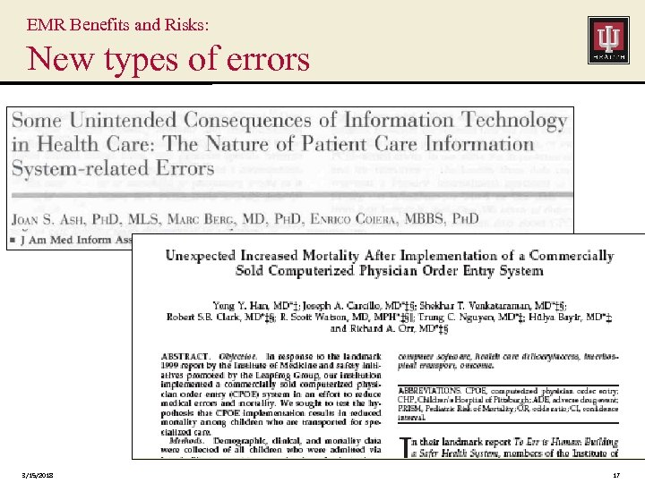EMR Benefits and Risks: New types of errors 3/15/2018 17
