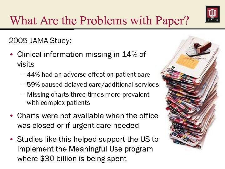 What Are the Problems with Paper? 2005 JAMA Study: • Clinical information missing in