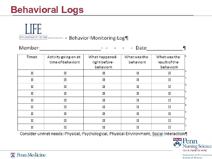 Behavioral Logs