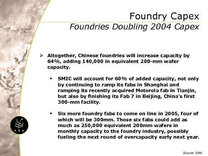 Foundry Capex Foundries Doubling 2004 Capex Ø Altogether, Chinese foundries will increase capacity by