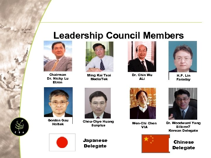 Leadership Council Members Chairman Dr. Nicky Lu Etron Ming Kai Tsai Media. Tek Gordon