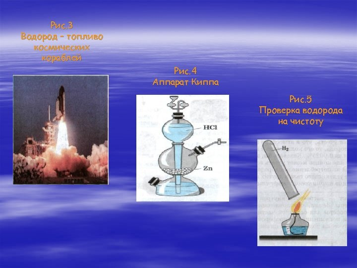 Рис. 3 Водород – топливо космических кораблей Рис. 4 Аппарат Киппа Рис. 5 Проверка