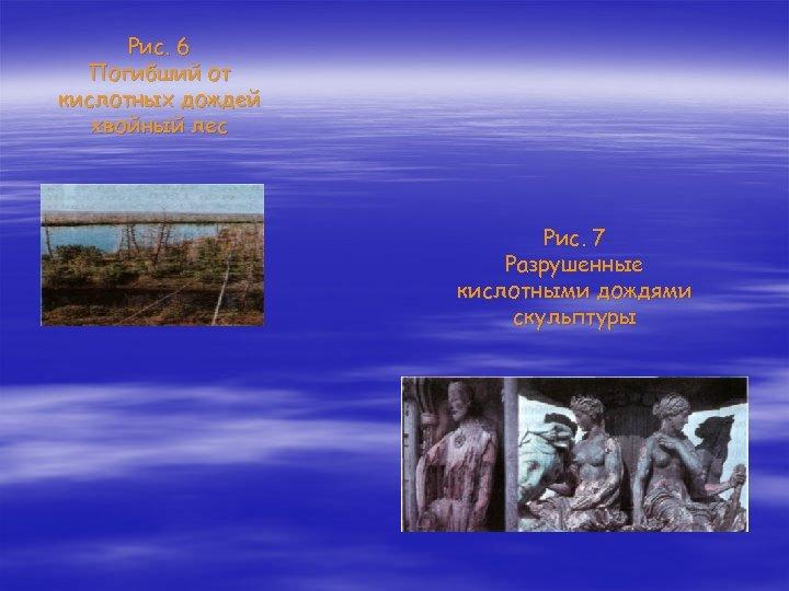 Рис. 6 Погибший от кислотных дождей хвойный лес Рис. 7 Разрушенные кислотными дождями скульптуры