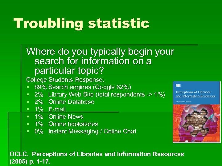 Troubling statistic Where do you typically begin your search for information on a particular