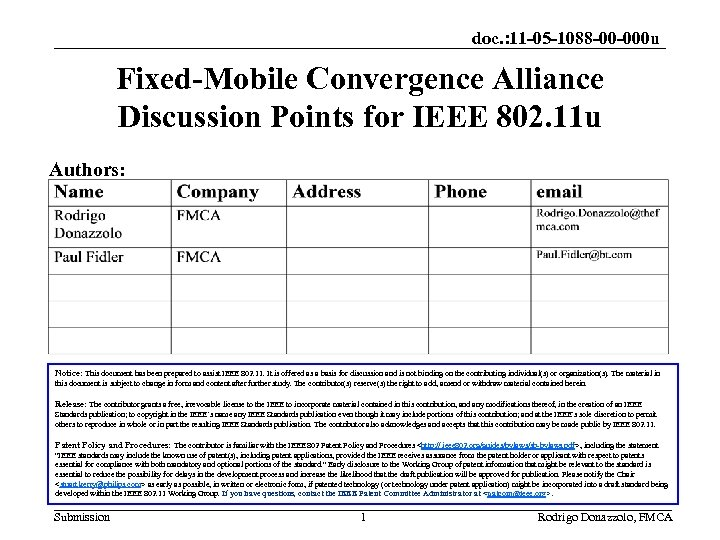 doc. : 11 -05 -1088 -00 -000 u Fixed-Mobile Convergence Alliance Discussion Points for
