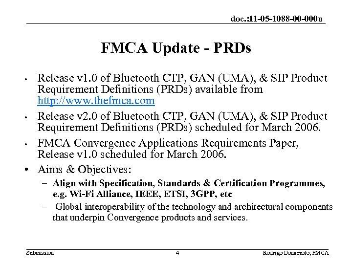 doc. : 11 -05 -1088 -00 -000 u FMCA Update - PRDs Release v