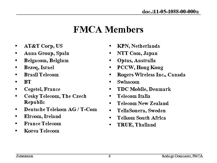 doc. : 11 -05 -1088 -00 -000 u FMCA Members • • • AT&T