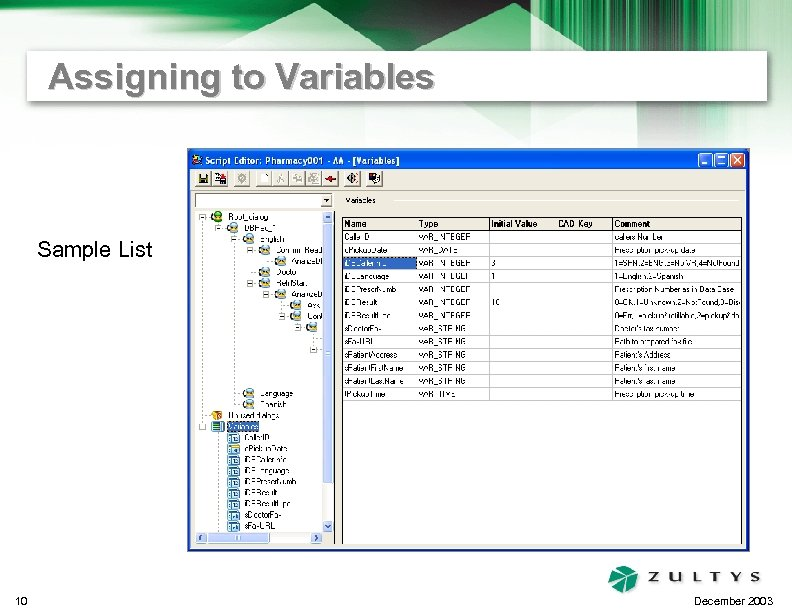 Assigning to Variables Sample List 10 December 2003
