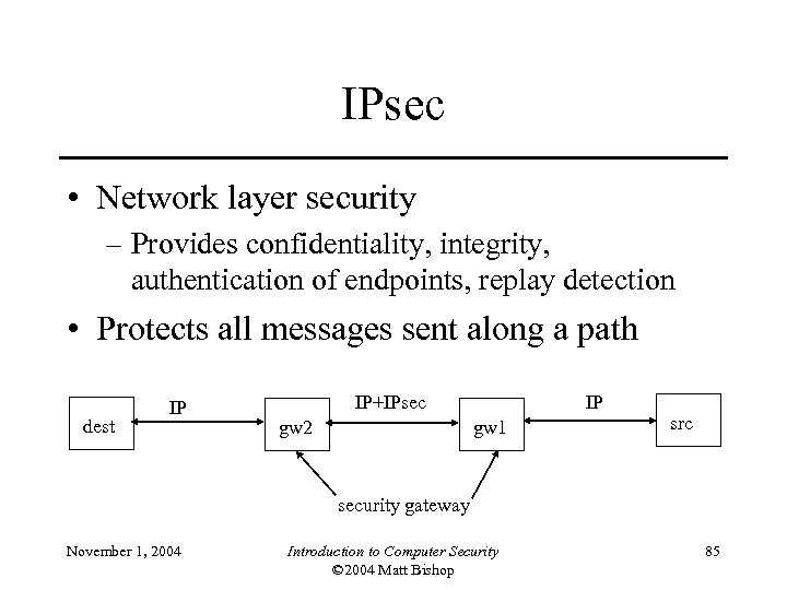 IPsec • Network layer security – Provides confidentiality, integrity, authentication of endpoints, replay detection