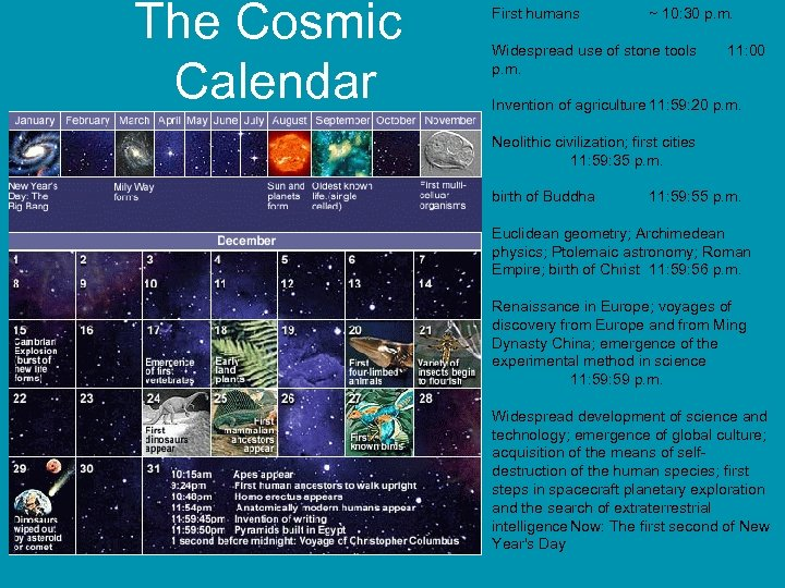 The Cosmic Calendar First humans ~ 10: 30 p. m. Widespread use of stone