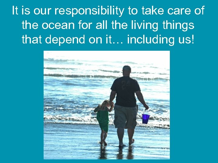It is our responsibility to take care of the ocean for all the living