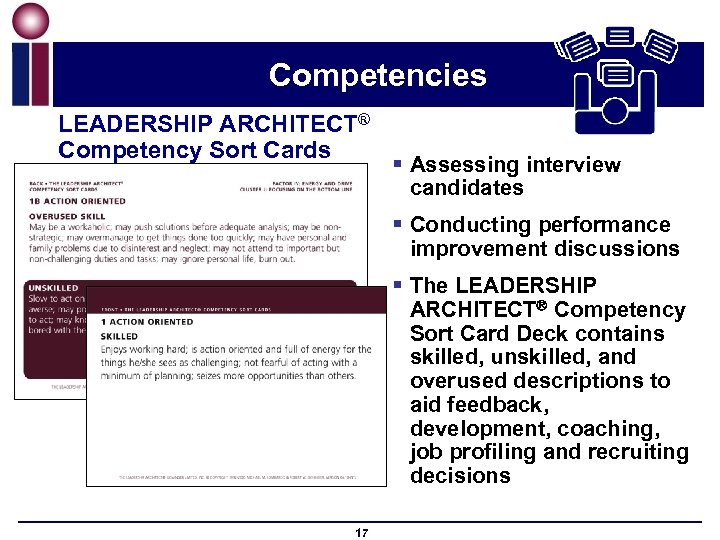 Competencies LEADERSHIP ARCHITECT® Competency Sort Cards § Assessing interview candidates § Conducting performance improvement