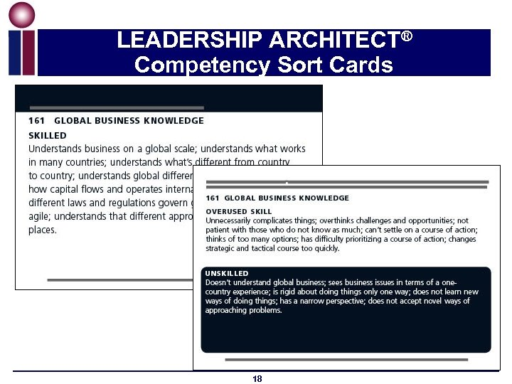 LEADERSHIP ARCHITECT® Competency Sort Cards 18