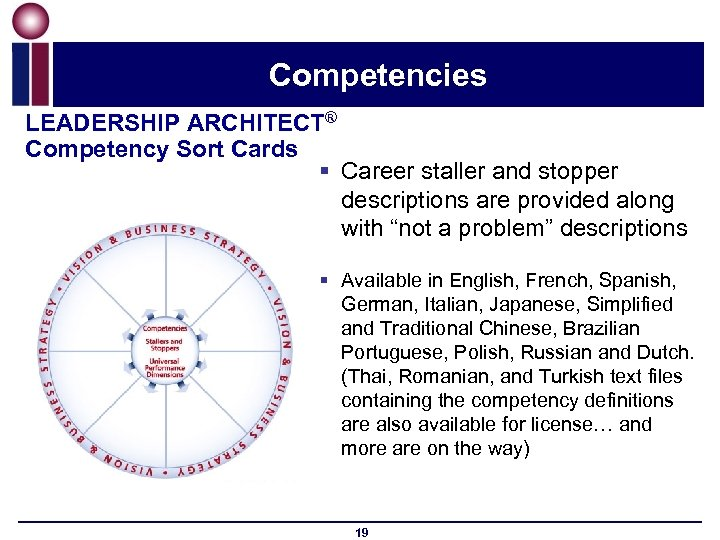 Competencies LEADERSHIP ARCHITECT® Competency Sort Cards § Career staller and stopper descriptions are provided