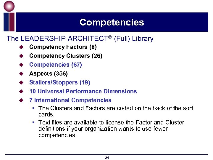 Competencies The LEADERSHIP ARCHITECT® (Full) Library u u u u Competency Factors (8) Competency