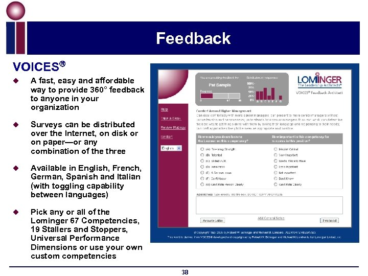 Feedback VOICES u A fast, easy and affordable way to provide 360° feedback to