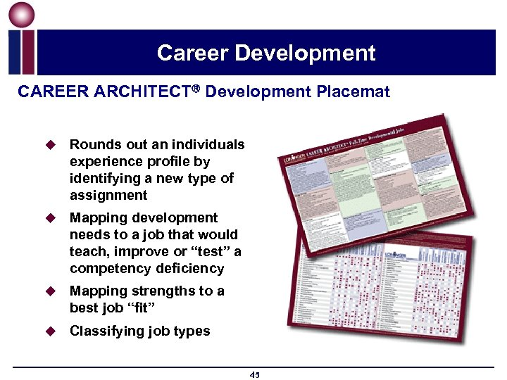 Career Development CAREER ARCHITECT Development Placemat u Rounds out an individuals experience profile by