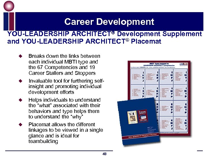 Career Development YOU-LEADERSHIP ARCHITECT Development Supplement and YOU-LEADERSHIP ARCHITECT® Placemat u u Breaks down