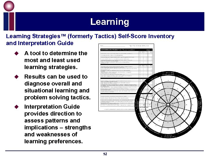 Learning Strategies™ (formerly Tactics) Self-Score Inventory and Interpretation Guide u A tool to determine