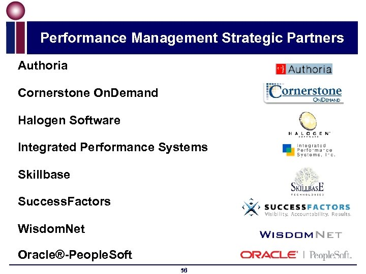 Performance Management Strategic Partners Authoria Cornerstone On. Demand Halogen Software Integrated Performance Systems Skillbase