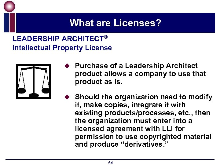 What are Licenses? LEADERSHIP ARCHITECT Intellectual Property License u Purchase of a Leadership Architect