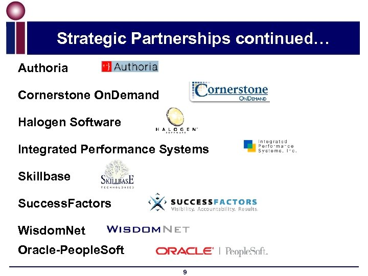 Strategic Partnerships continued… Authoria Cornerstone On. Demand Halogen Software Integrated Performance Systems Skillbase Success.