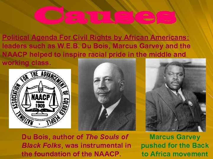 Causes Political Agenda For Civil Rights by African Americans: leaders such as W. E.