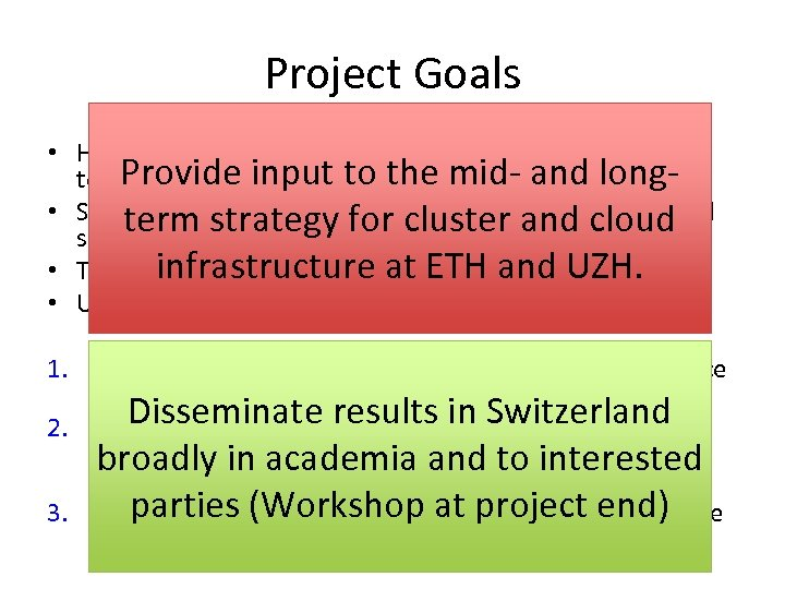 Project Goals • How to extend current cluster services using cloud Provide technology? input