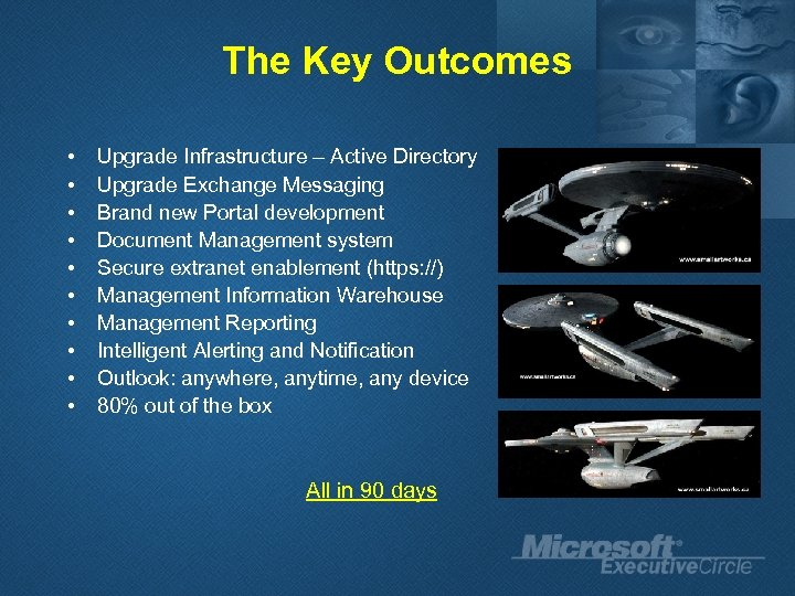 The Key Outcomes • • • Upgrade Infrastructure – Active Directory Upgrade Exchange Messaging