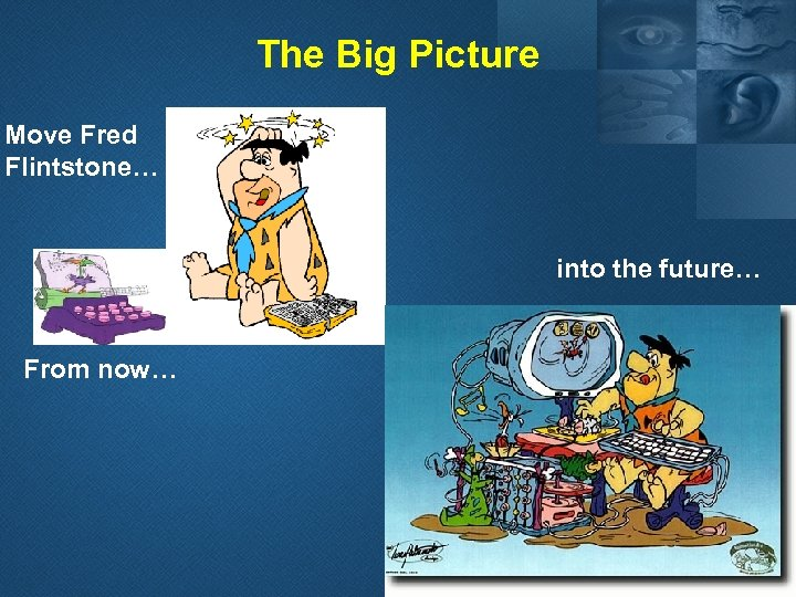 The Big Picture Move Fred Flintstone… into the future… From now…