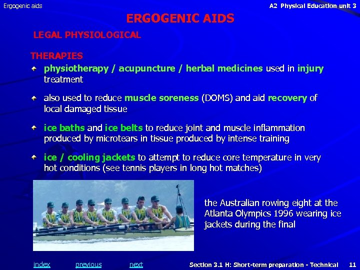 Ergogenic aids A 2 Physical Education unit 3 ERGOGENIC AIDS LEGAL PHYSIOLOGICAL THERAPIES physiotherapy