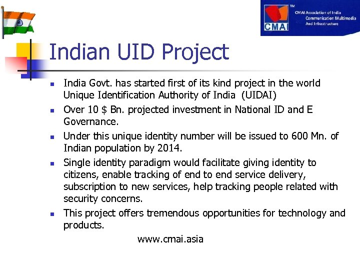 Indian UID Project India Govt. has started first of its kind project in the