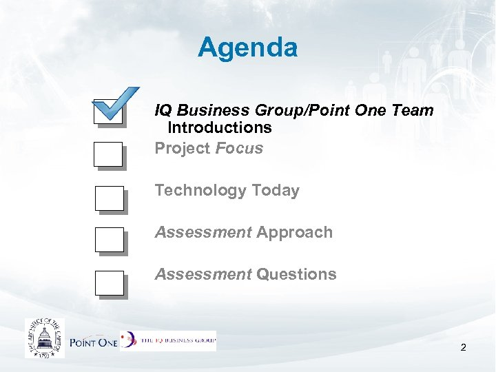 Agenda IQ Business Group/Point One Team Introductions Project Focus Technology Today Assessment Approach Assessment