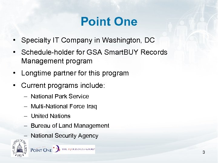 Point One • Specialty IT Company in Washington, DC • Schedule-holder for GSA Smart.