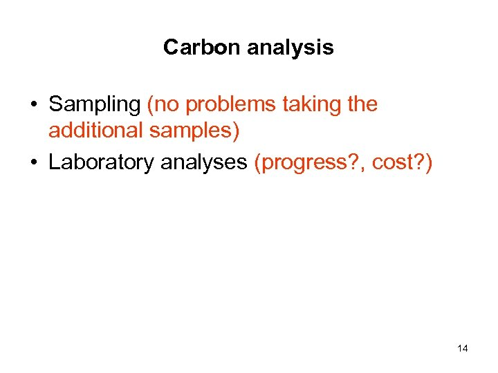 Carbon analysis • Sampling (no problems taking the additional samples) • Laboratory analyses (progress?