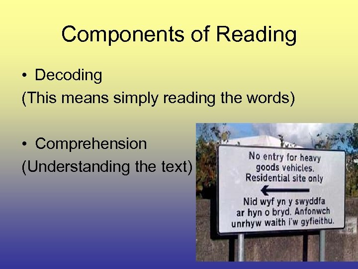 Components of Reading • Decoding (This means simply reading the words) • Comprehension (Understanding