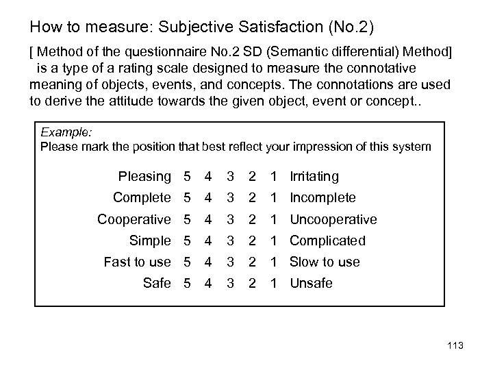 How to measure: Subjective Satisfaction (No. 2) [ Method of the questionnaire No. 2