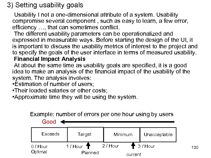 3) Setting usability goals Usability I not a one-dimensional attribute of a system. Usability