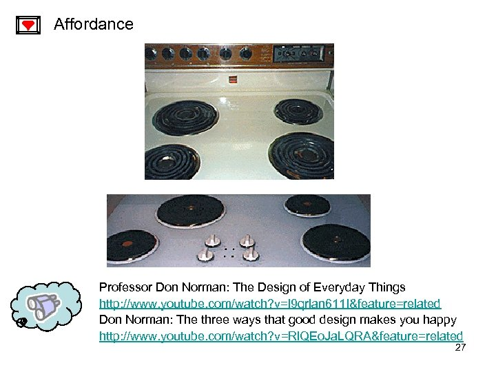 Affordance Professor Don Norman: The Design of Everyday Things http: //www. youtube. com/watch? v=l