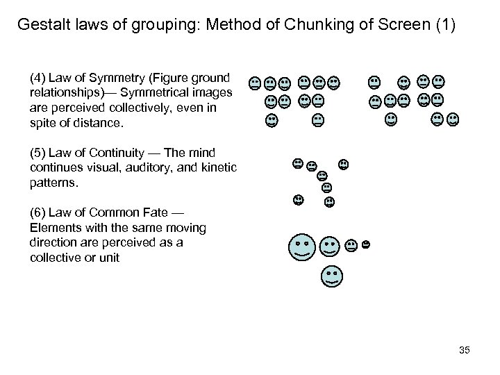 Gestalt laws of grouping: Method of Chunking of Screen (1) (4) Law of Symmetry