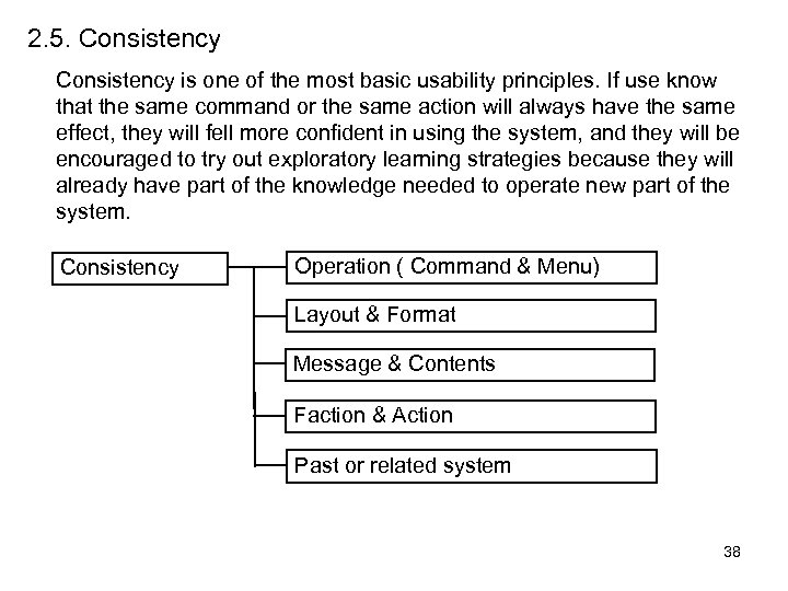 2. 5. Consistency is one of the most basic usability principles. If use know