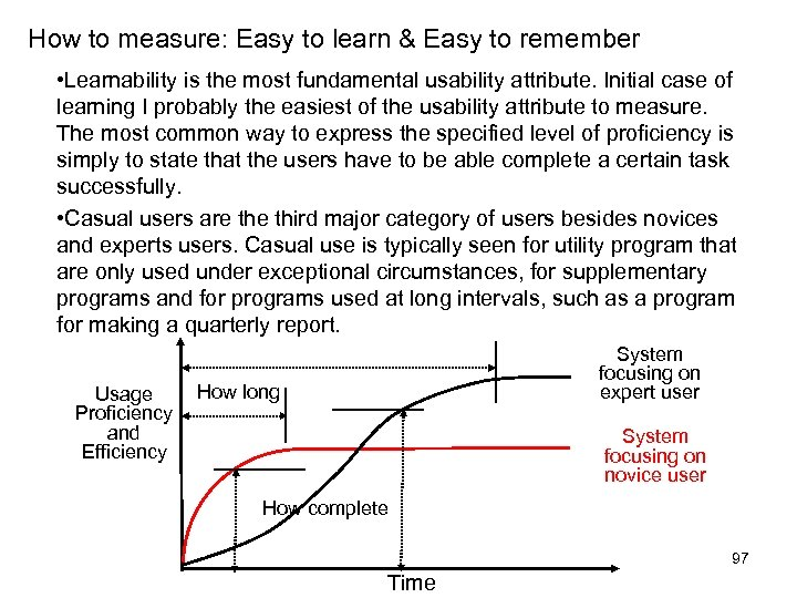 How to measure: Easy to learn & Easy to remember • Learnability is the