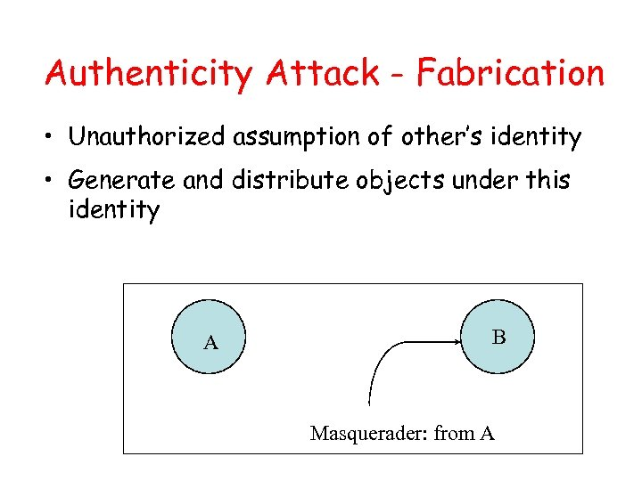 Authenticity Attack - Fabrication • Unauthorized assumption of other's identity • Generate and distribute