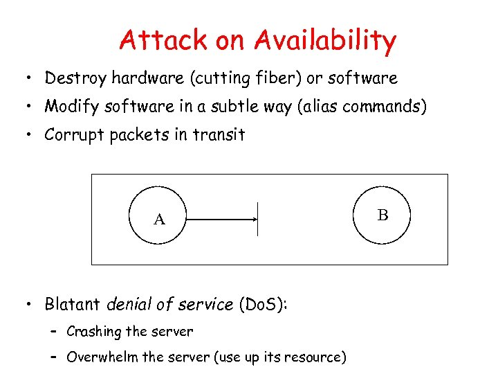Attack on Availability • Destroy hardware (cutting fiber) or software • Modify software in