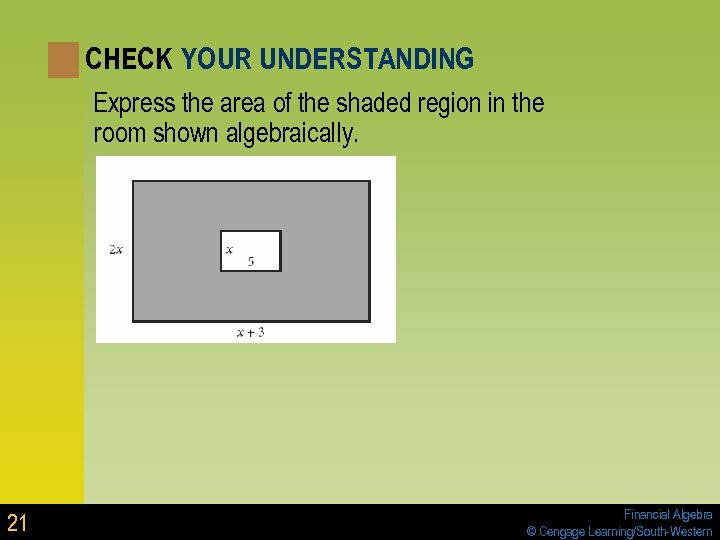 CHECK YOUR UNDERSTANDING Express the area of the shaded region in the room shown