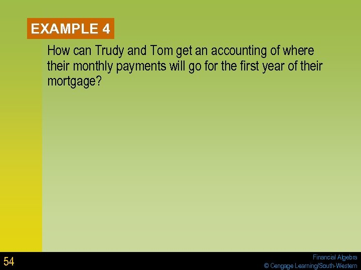 EXAMPLE 4 How can Trudy and Tom get an accounting of where their monthly