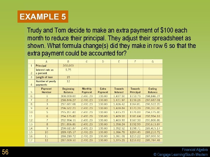 EXAMPLE 5 Trudy and Tom decide to make an extra payment of $100 each