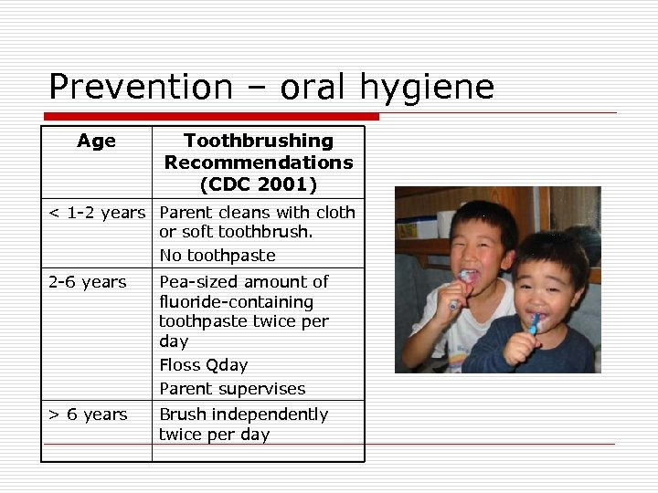 Prevention – oral hygiene Age Toothbrushing Recommendations (CDC 2001) < 1 -2 years Parent