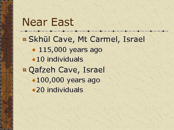 Near East Skhūl Cave, Mt Carmel, Israel 115, 000 years ago 10 individuals Qafzeh